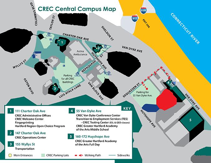 Hartford Hospital Campus Map.Crec Directions Capitol Region Education Council